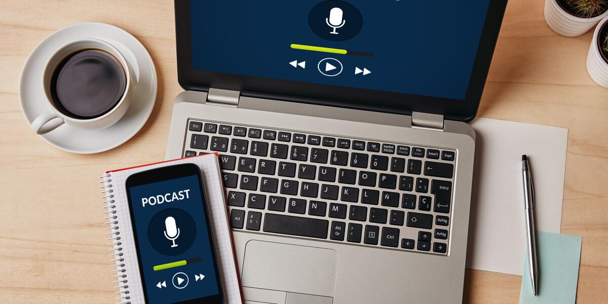 Podcast auf dem Laptip