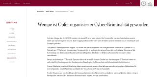Information auf Wempe Webseite über Cyberangriff