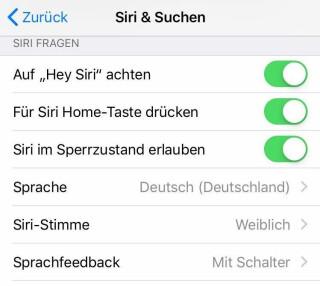 Siri-Einstellungen