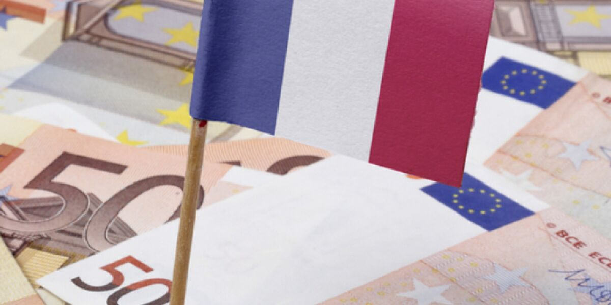 Französische Flagge in Euroscheine gesteckt