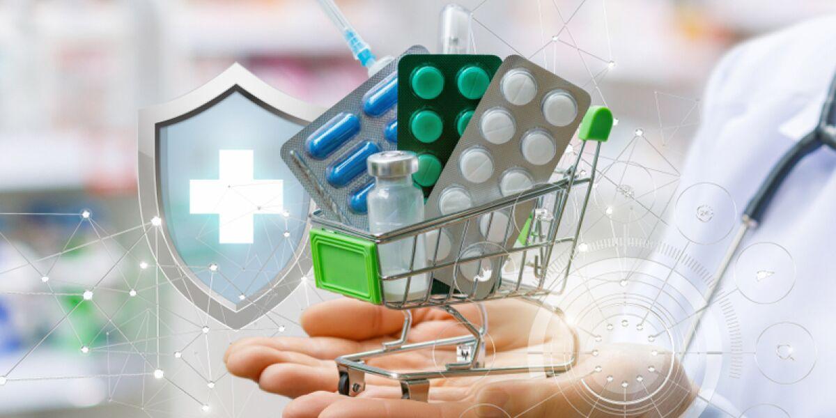 Medikamente im Einkaufswagen