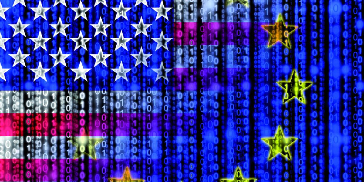Digitale Flagge von America und Europa