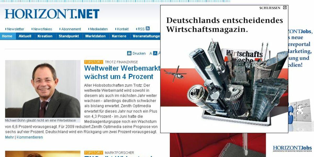 Beispiel für Over-Content-Ad auf Horizont.net