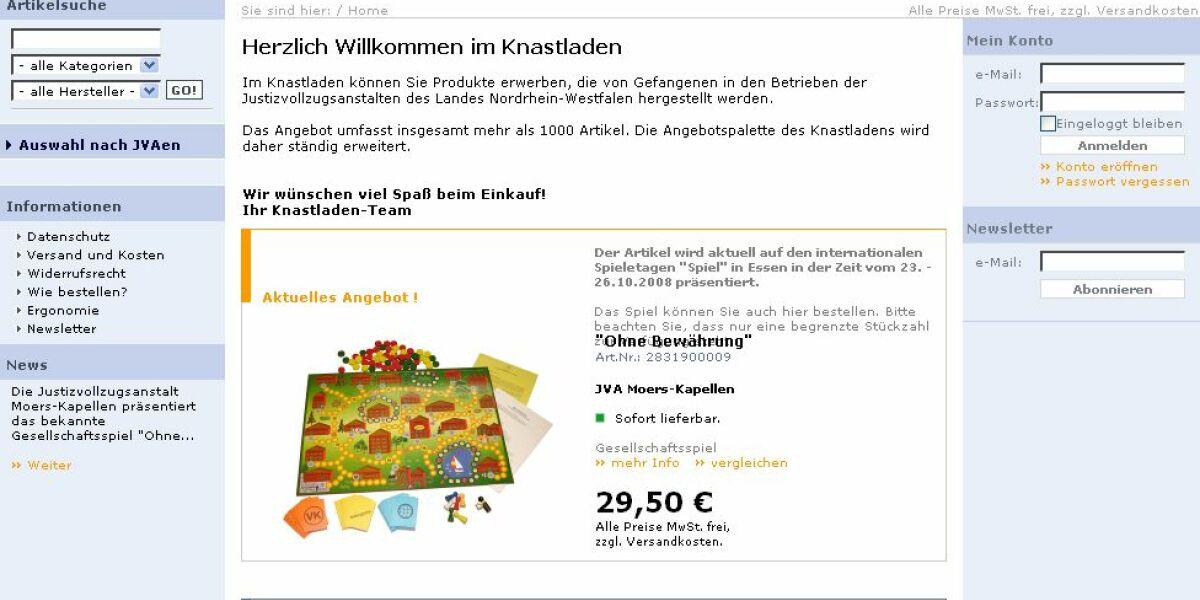 Screenshot Knastladen.de