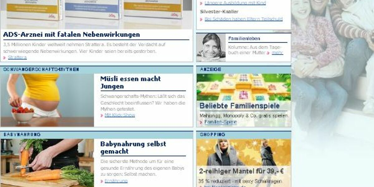 Screenshot Elternratgeberportal
