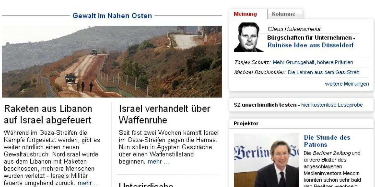 Screenshot Sueddeutsche.de