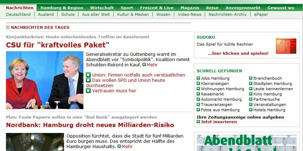 "Screenshot ""Hamburger Abendblatt"""