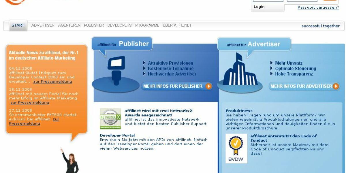 Screenshot Affilinet