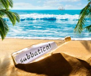 Flaschenpost in der Sabbatical steht