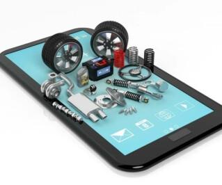 Autoteile auf dem Tablet