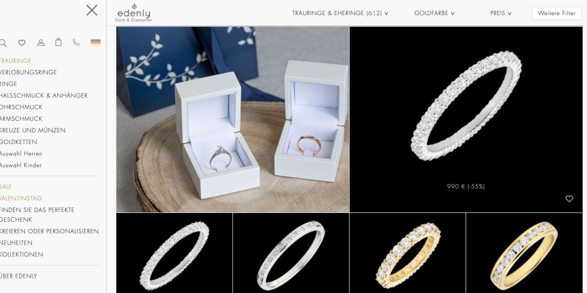 Online-Juwelier Edenly bietet Bezahlung mit Oney an