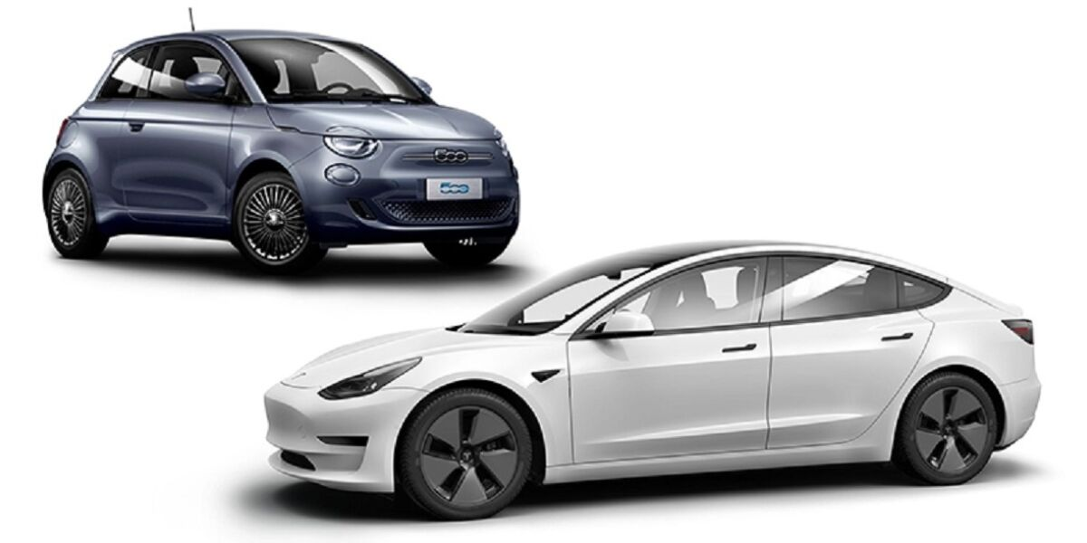 Tesla Model 3 und Fiat 500E ICON