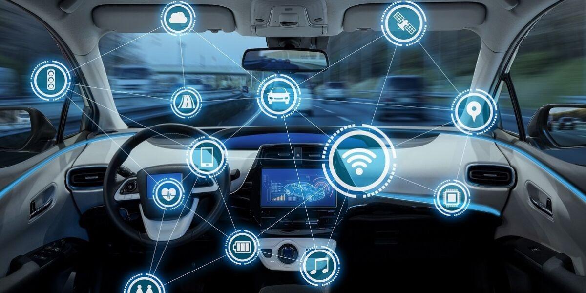 Konzept des intelligenten Fahrzeugcockpits und des drahtlosen Kommunikationsnetzes