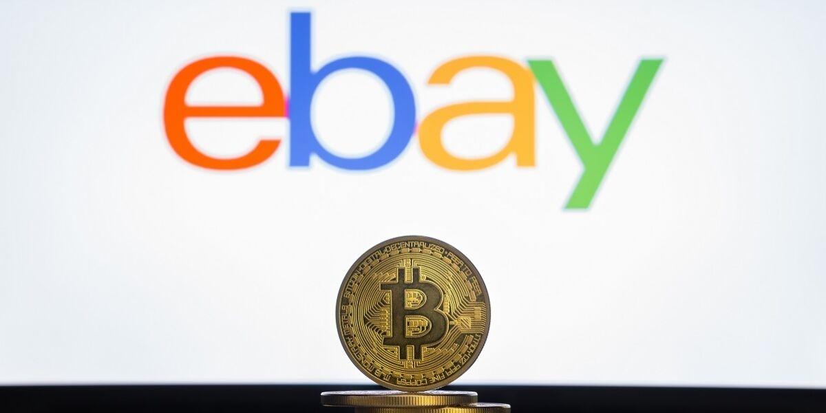 Bitcoin.Münzen und Ebay Logo