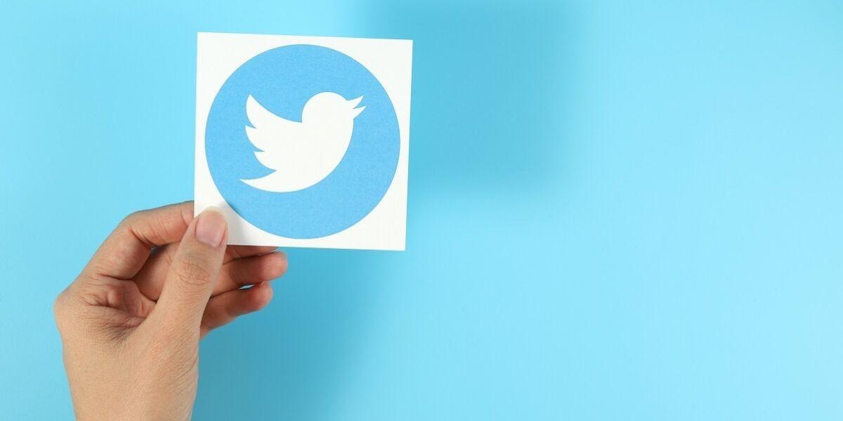 Hand, die das Twitter Logo vor einem blauen Hintegrund hält