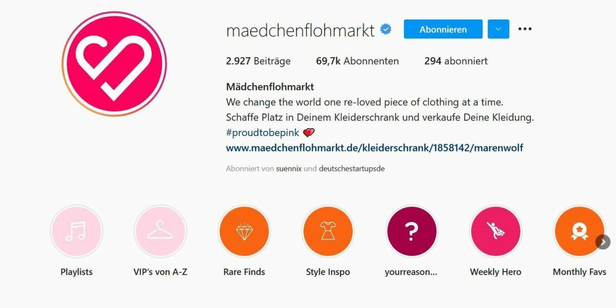 Maedchenflohmarkt auf Instagram