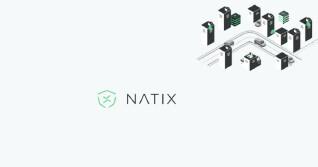 Natix Logo mit Grafiken von Hochhäusern