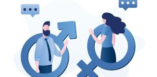 Männliche und weibliche Zeichen in Gender-Symbolen