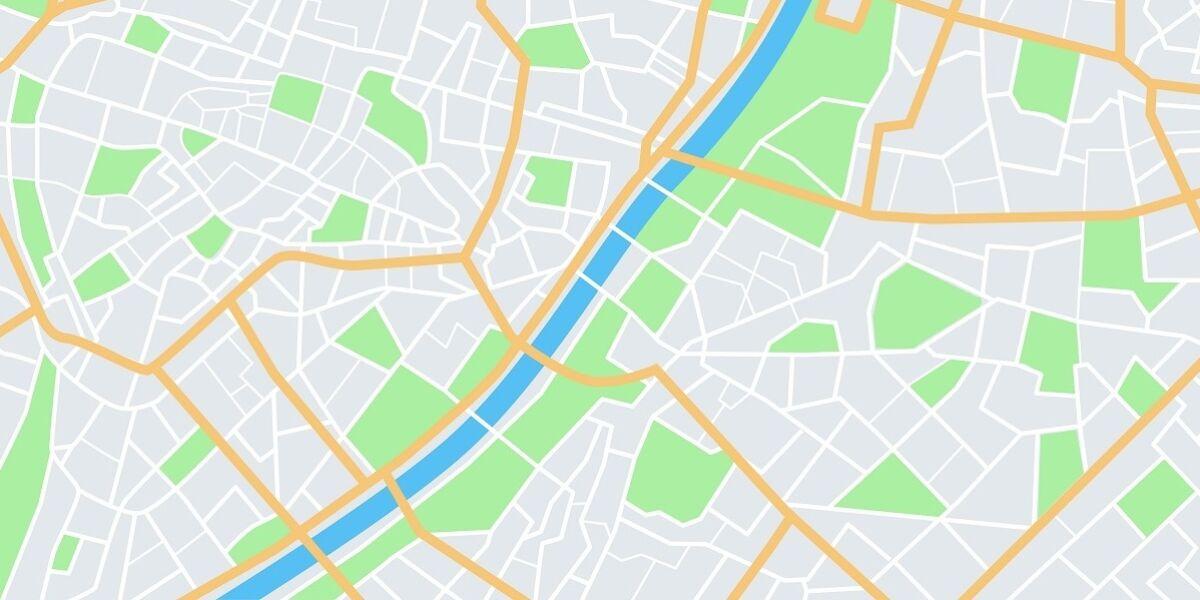 Stadtplan aus der Vogelperspektive