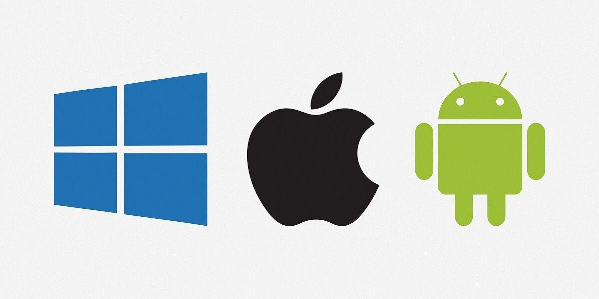 Logos von Android, Mac Os, Windows