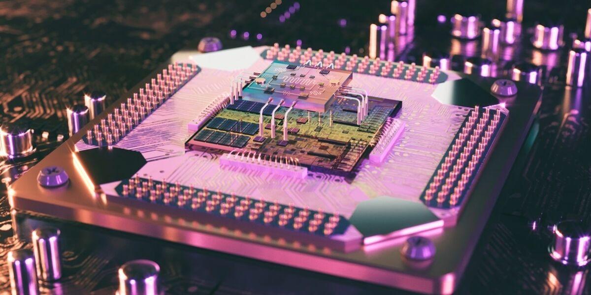 3D-Darstellung eines Quantenprozessors