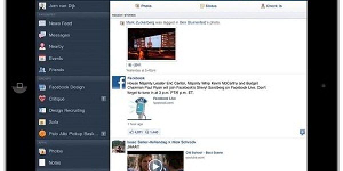 Facebook-App für iPad