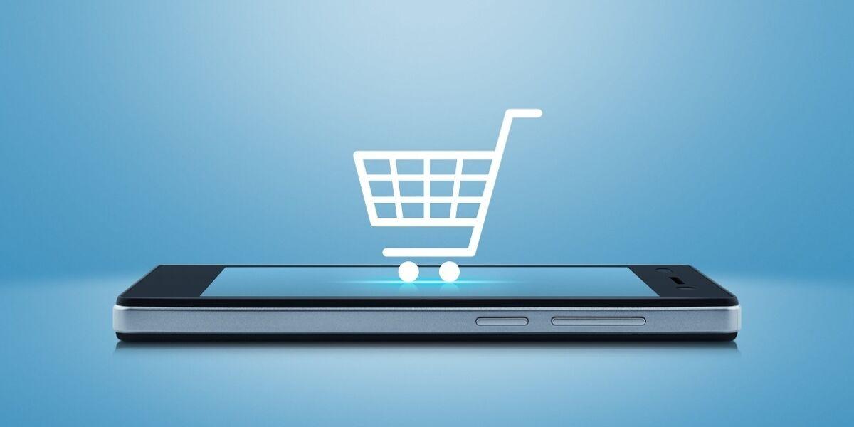 Einkaufswagen-Icon auf Smartphone-Screen