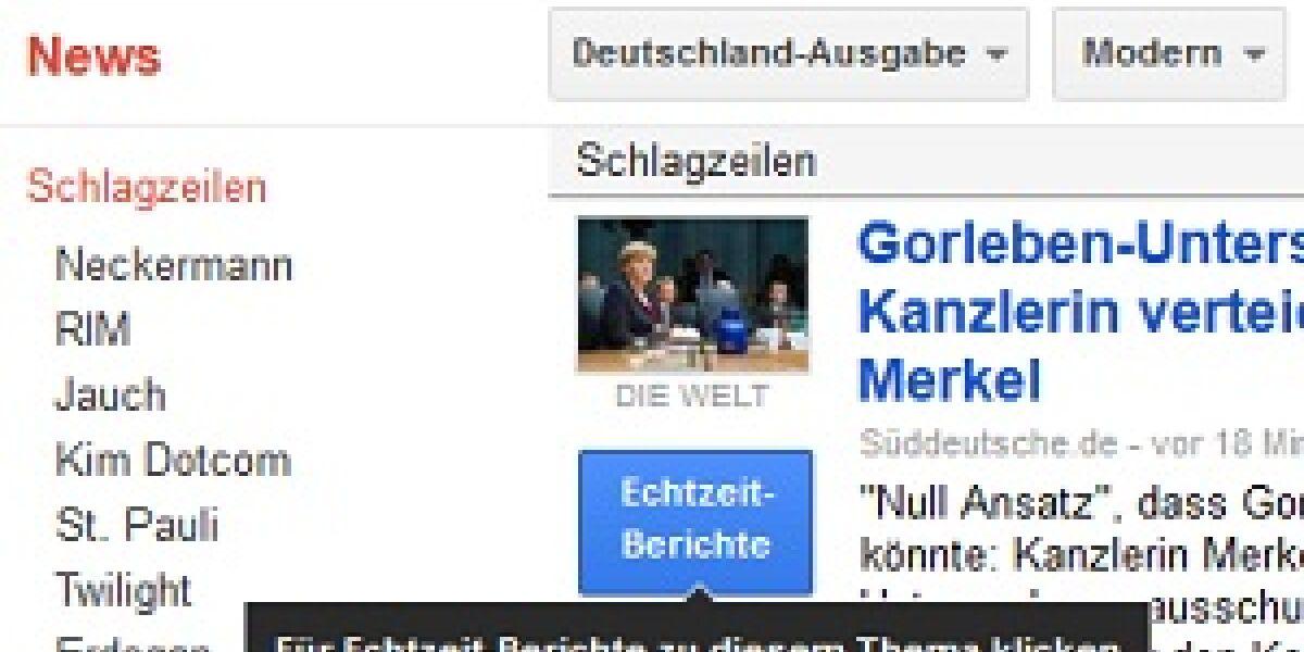 Echtzeitnachrichten für Google News