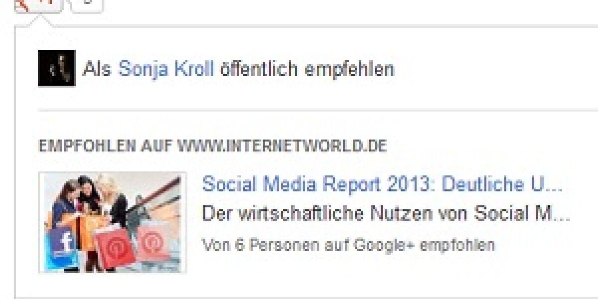 Google+-Weiterleitung gesichtet