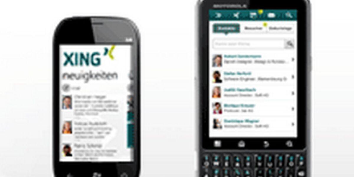 Mobiler Auftritt Xing auf Smartphone