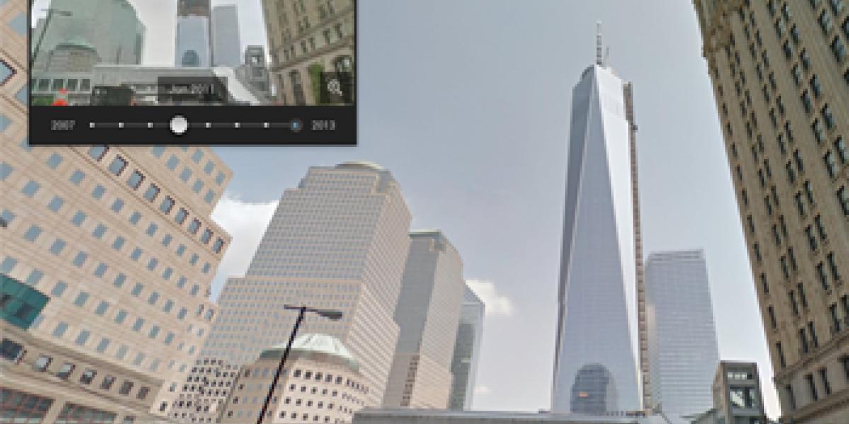 Street View in Google Maps zeigte bislang immer nur die aktuellsten Aufnahmen an. Nun kann man sich mit Google auf Zeitreise begeben und bi szu sieben Jahre alte Fotos ansehen.