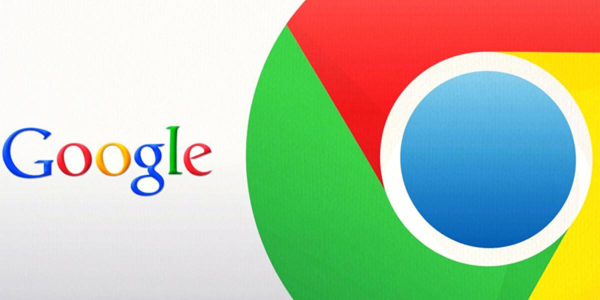 Google Schriftzug neben dem Logo von Google Chrome