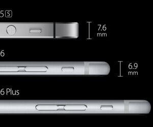 Deutlich flacher: Mit 6,9 Millimetern beim iPhone 6 und 7,1 Millimetern beim iPhone 6 Plus fällt die neue Apple-Generation um einiges flacher aus als das iPhone 5S mit 7,6 Millimetern (Bild: Apple).