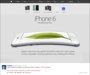 Matt Navarra stellt in seinem Twitter-Post erst einmal klar, dass es sich bei den verbogenen iPhone-Display keinesfalls um einen Konstruktionsfehler handelt.. Er präsentiert die überarbeitete Apple-Website.