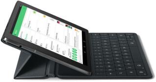 Dank einer magnetisch befestigten, leicht bedienbaren Tastatur soll sich das Nexus 9 Tablet nicht nur für die Freizeit, sondern auch für die Arbeit eignen. Die Tastatur wird laut Google separat erhältlich sein.