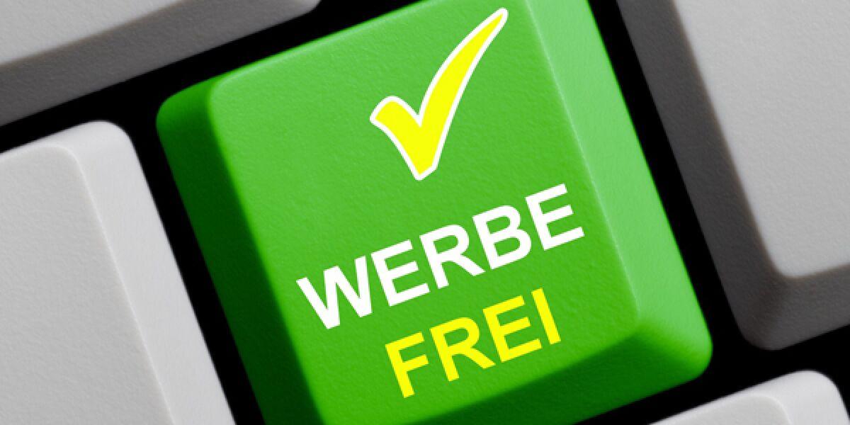 Grüne Werbefrei-Computertaste