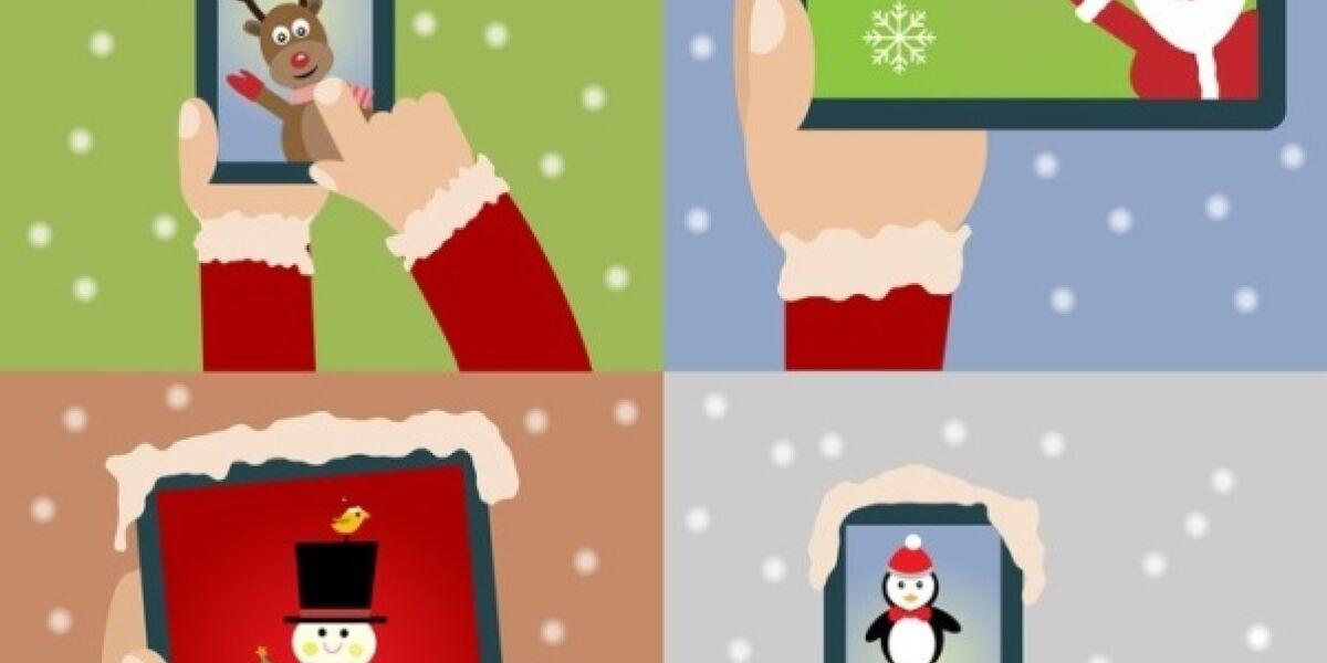 Weihnachtsmann surft auf Tablet und Smartphone
