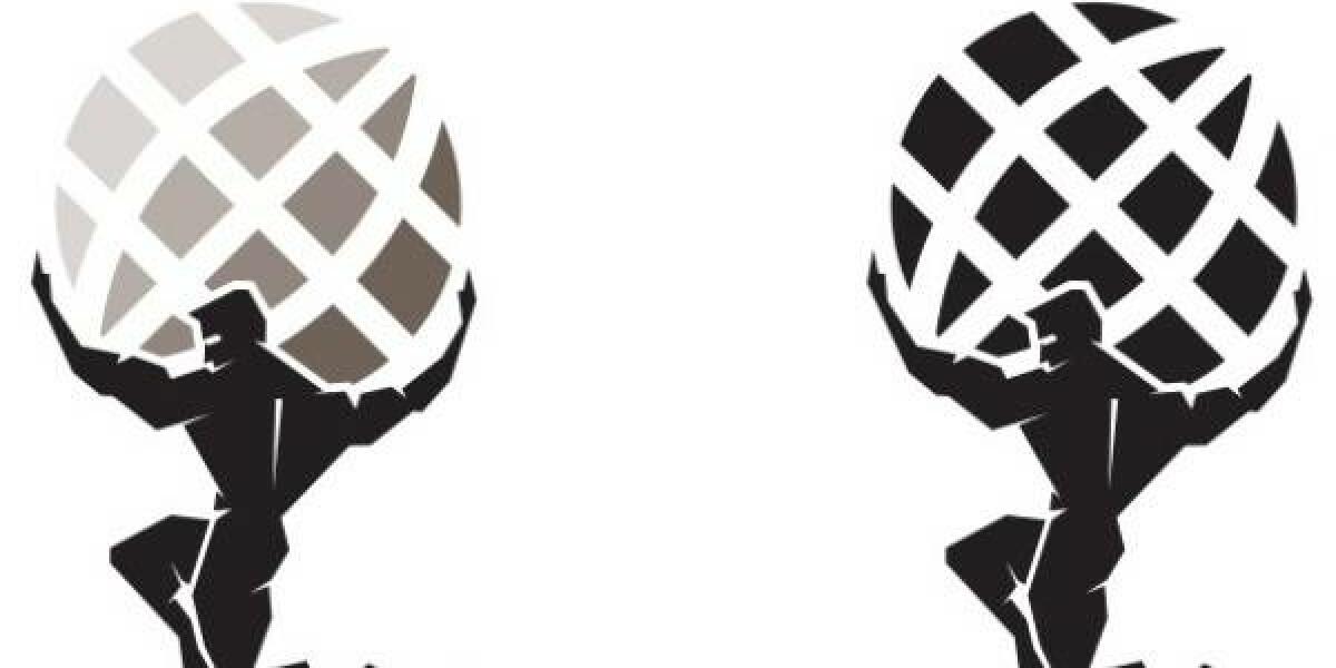 Atlanten-zwei-Weltkugeln