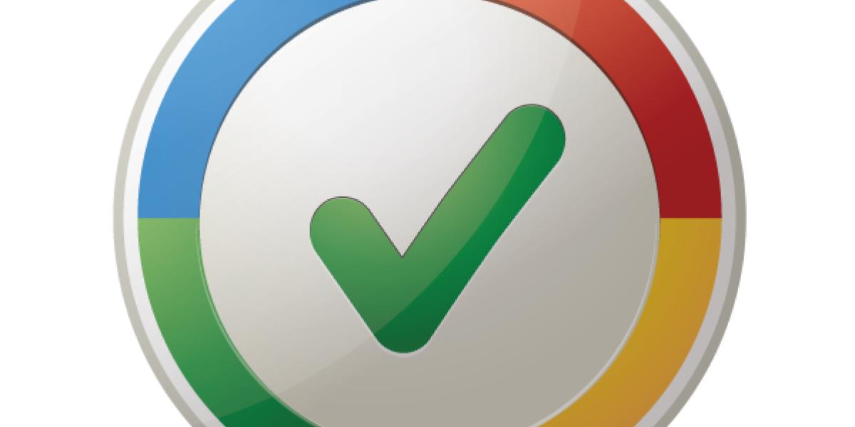 Mehrfarbiger Button mit Ok-Haken