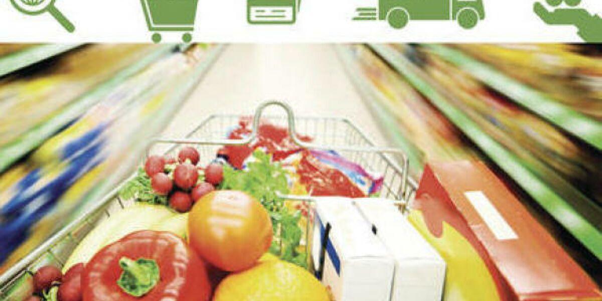 Einkaufswagen fliegt durch Supermarkt