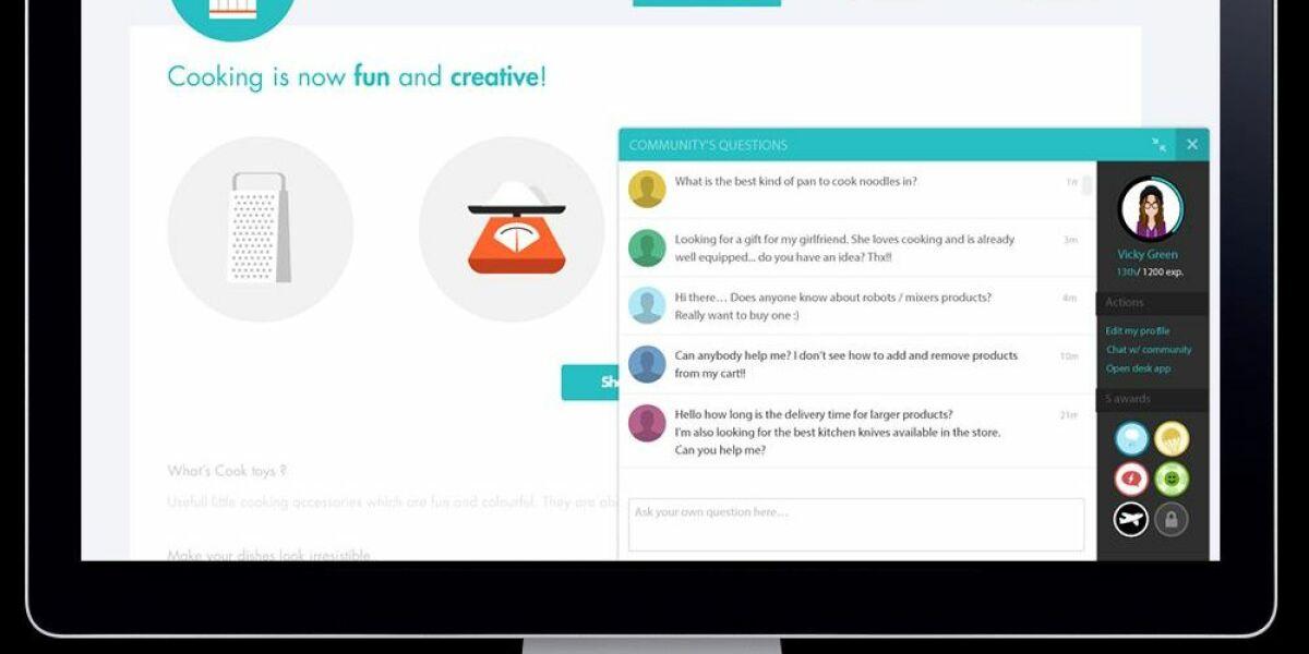 Online Shop mit Fenster für Community-Chat