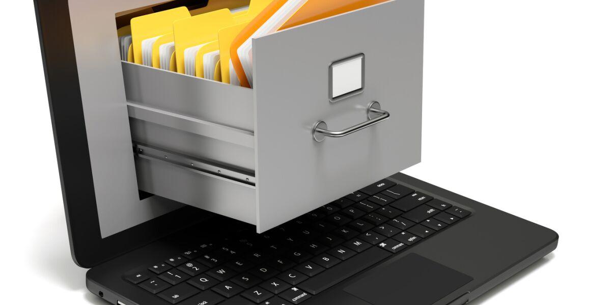 Hängeregister im Laptop