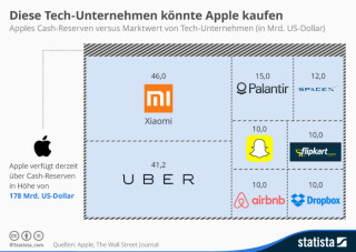 Apples Cash-Reserven versus Marktwert von Tech-Unternehmen
