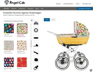 Website von Angelcab.de mit Auswahl von Mustern für den Kinderwagen