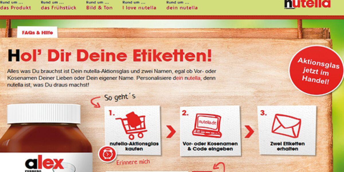 Nutella mit Namensschild