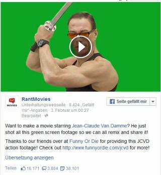 RantMovies Facebookpost Van Damme