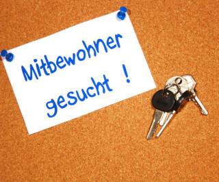Mitbewohner gesucht Schild mit Schlüssel