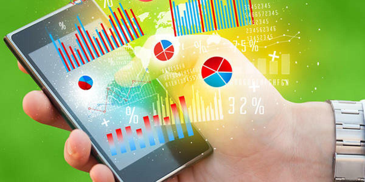 Smartphone mit Statistiken