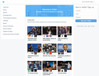 Twitter neue Homepage