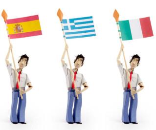 Flaggen von Spanien, Griechenland und Italien